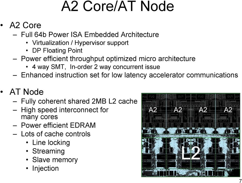 instruction set for low latency accelerator communications AT Node Fully coherent shared 2MB L2 cache High speed