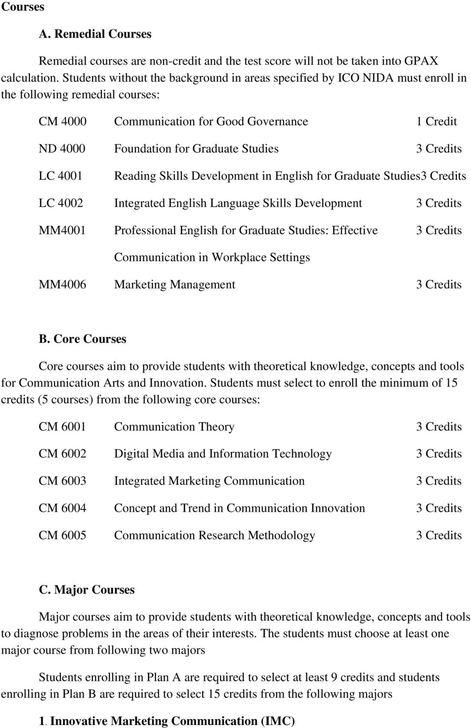 Studies 3 Credits LC 4001 Reading Skills Development in English for Graduate Studies3 Credits LC 4002 Integrated English Language Skills Development 3 Credits MM4001 Professional English for Graduate