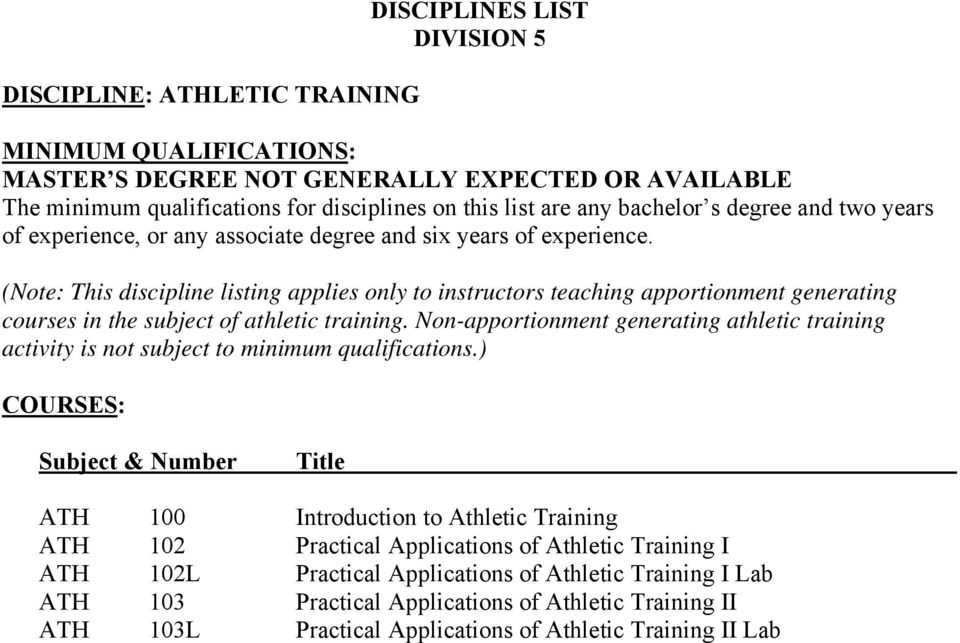 (Note: This discipline listing applies only to instructors teaching apportionment generating courses in the subject of athletic training.
