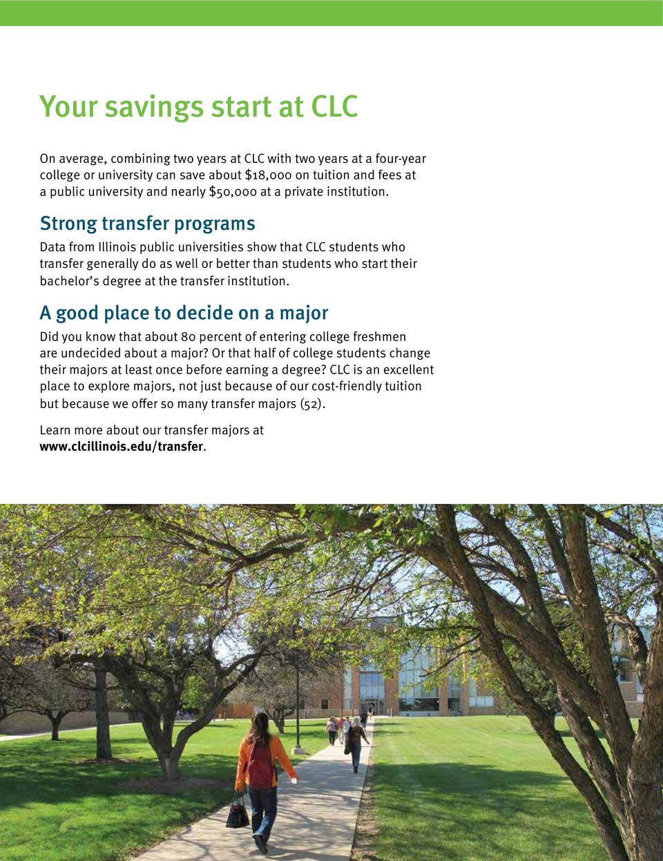Strong transfer programs Data from Illinois public universities show that CLC students who transfer generally do as well or better than students who start their bachelor s degree at the transfer
