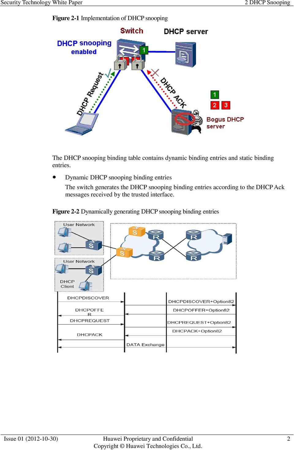 Dynamic DHCP snooping binding entries The switch generates the DHCP snooping binding entries