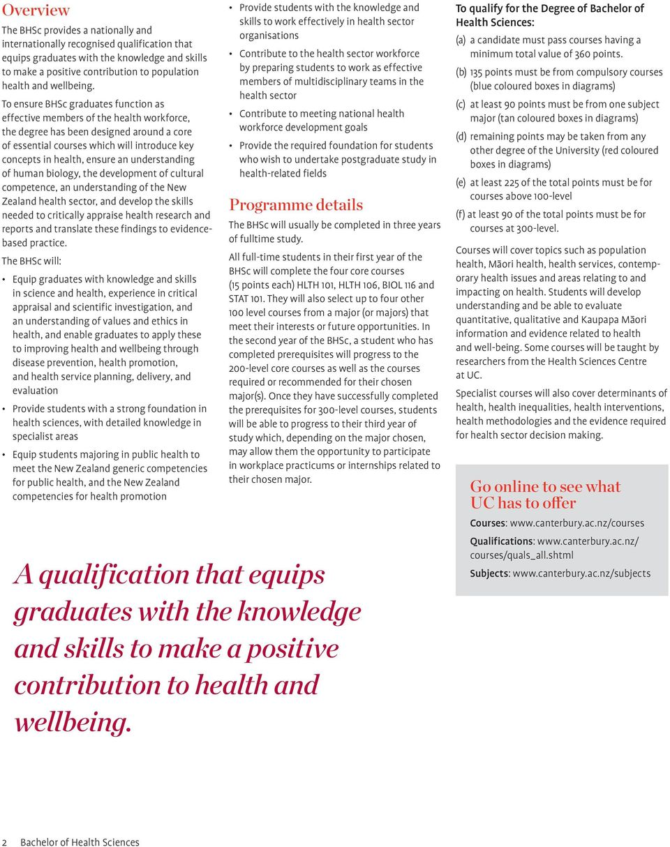 To ensure BHSc graduates function as effective members of the health workforce, the degree has been designed around a core of essential which will introduce key concepts in health, ensure an