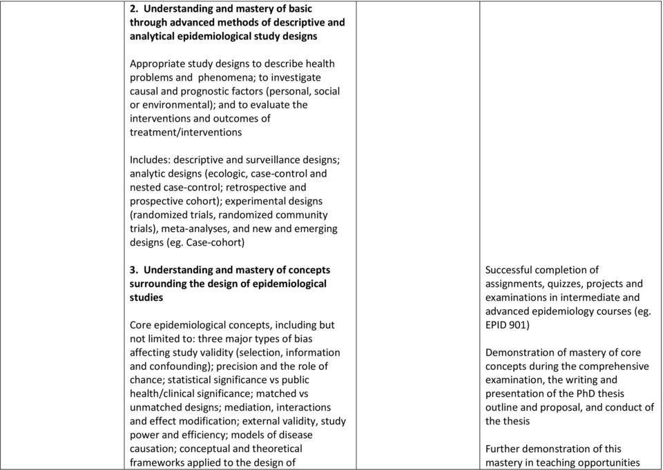 designs; analytic designs (ecologic, case-control and nested case-control; retrospective and prospective cohort); experimental designs (randomized trials, randomized community trials), meta-analyses,
