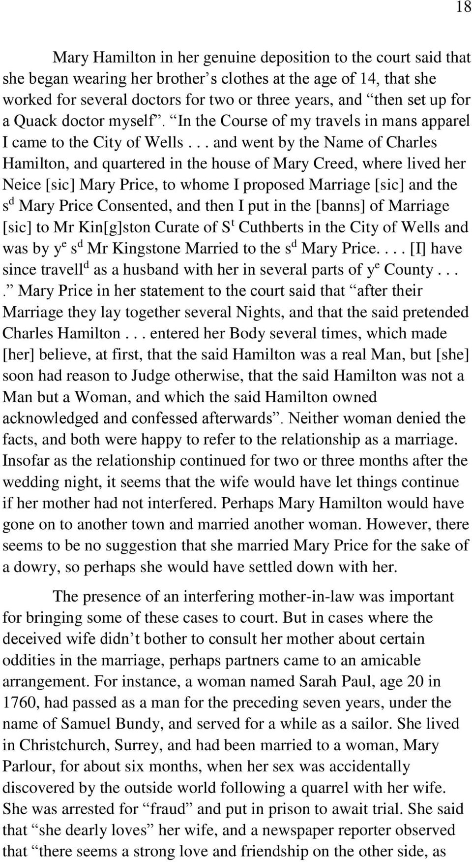 .. and went by the Name of Charles Hamilton, and quartered in the house of Mary Creed, where lived her Neice [sic] Mary Price, to whome I proposed Marriage [sic] and the s d Mary Price Consented, and