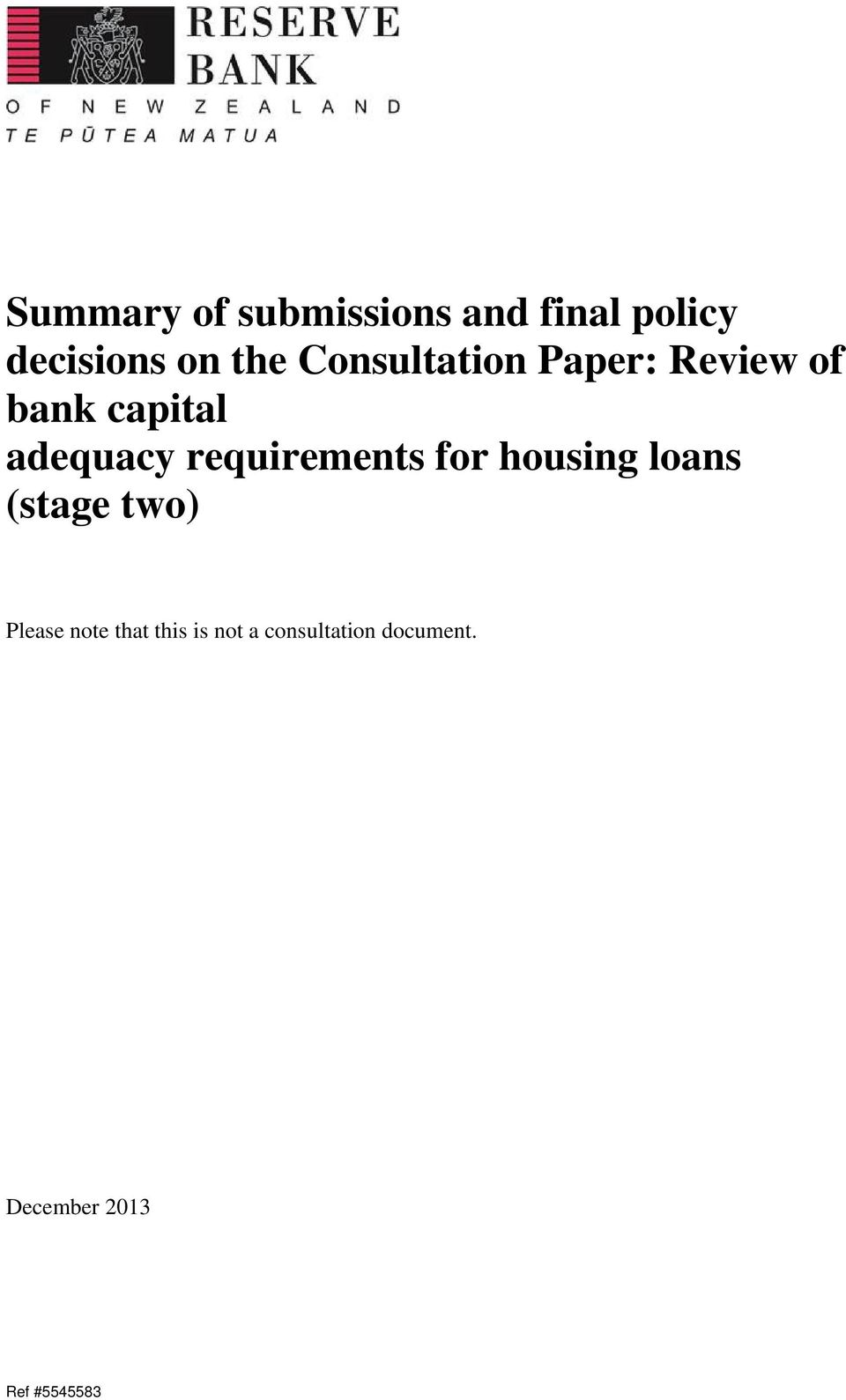 adequacy requirements for housing loans (stage two)