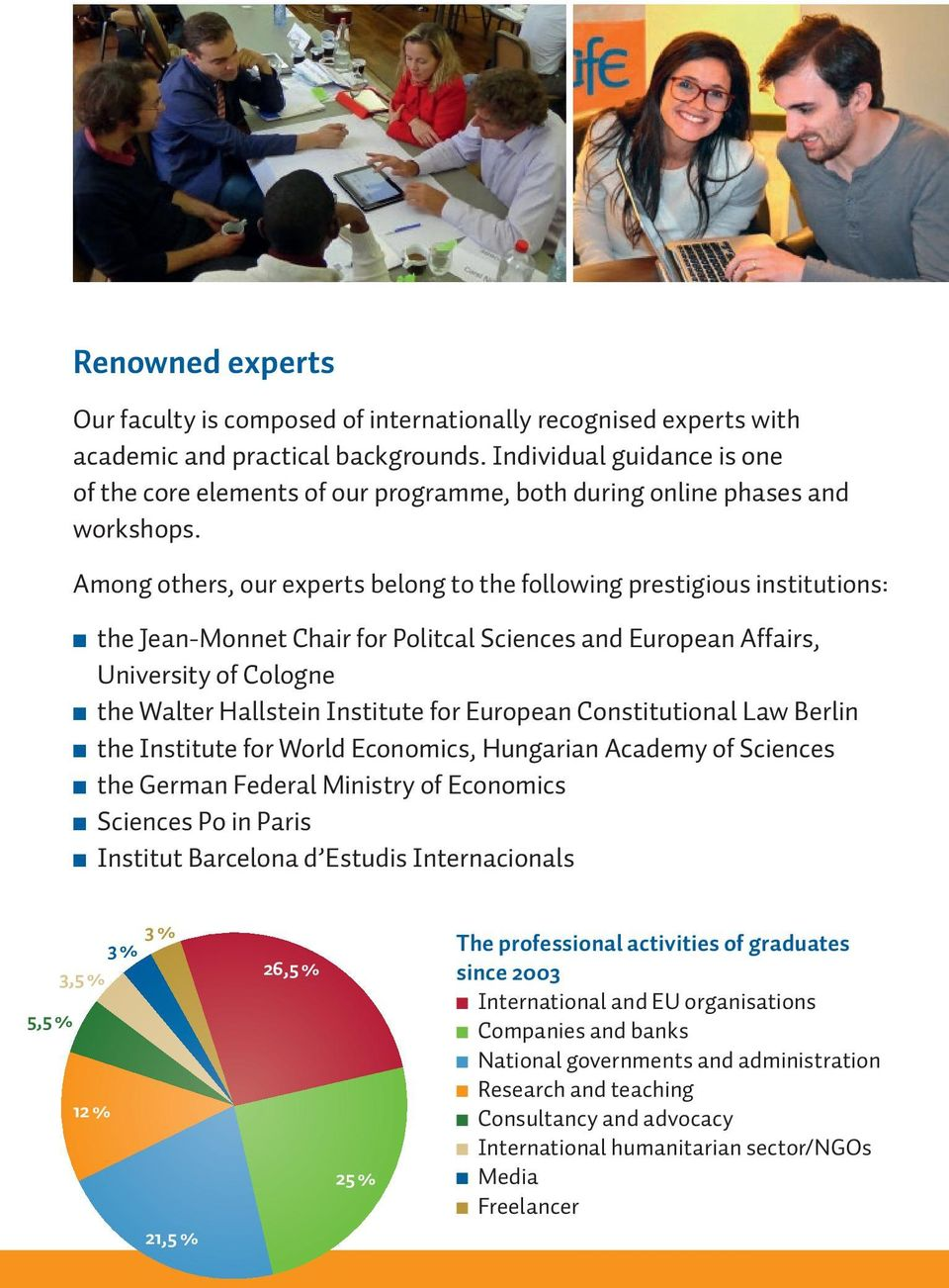 Among others, our experts belong to the following prestigious institutions: n the Jean-Monnet Chair for Politcal Sciences and European Affairs, University of Cologne n the Walter Hallstein Institute