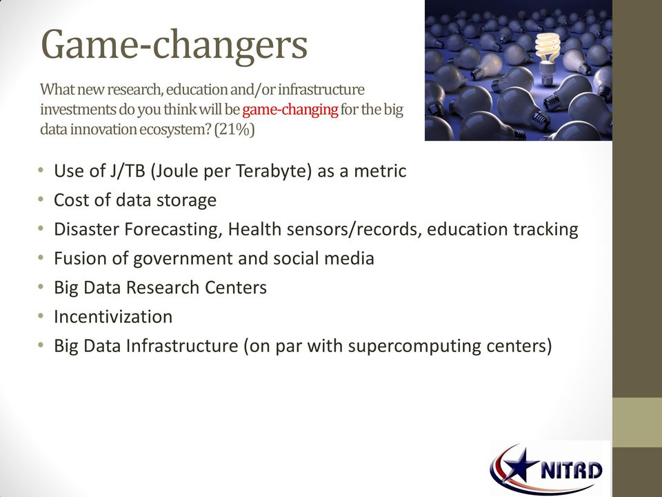 (21%) Use of J/TB (Joule per Terabyte) as a metric Cost of data storage Disaster Forecasting, Health