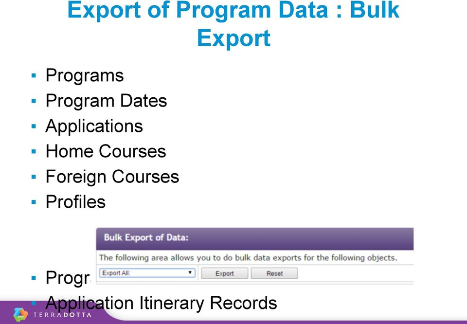 Foreign Courses Profiles Export Program
