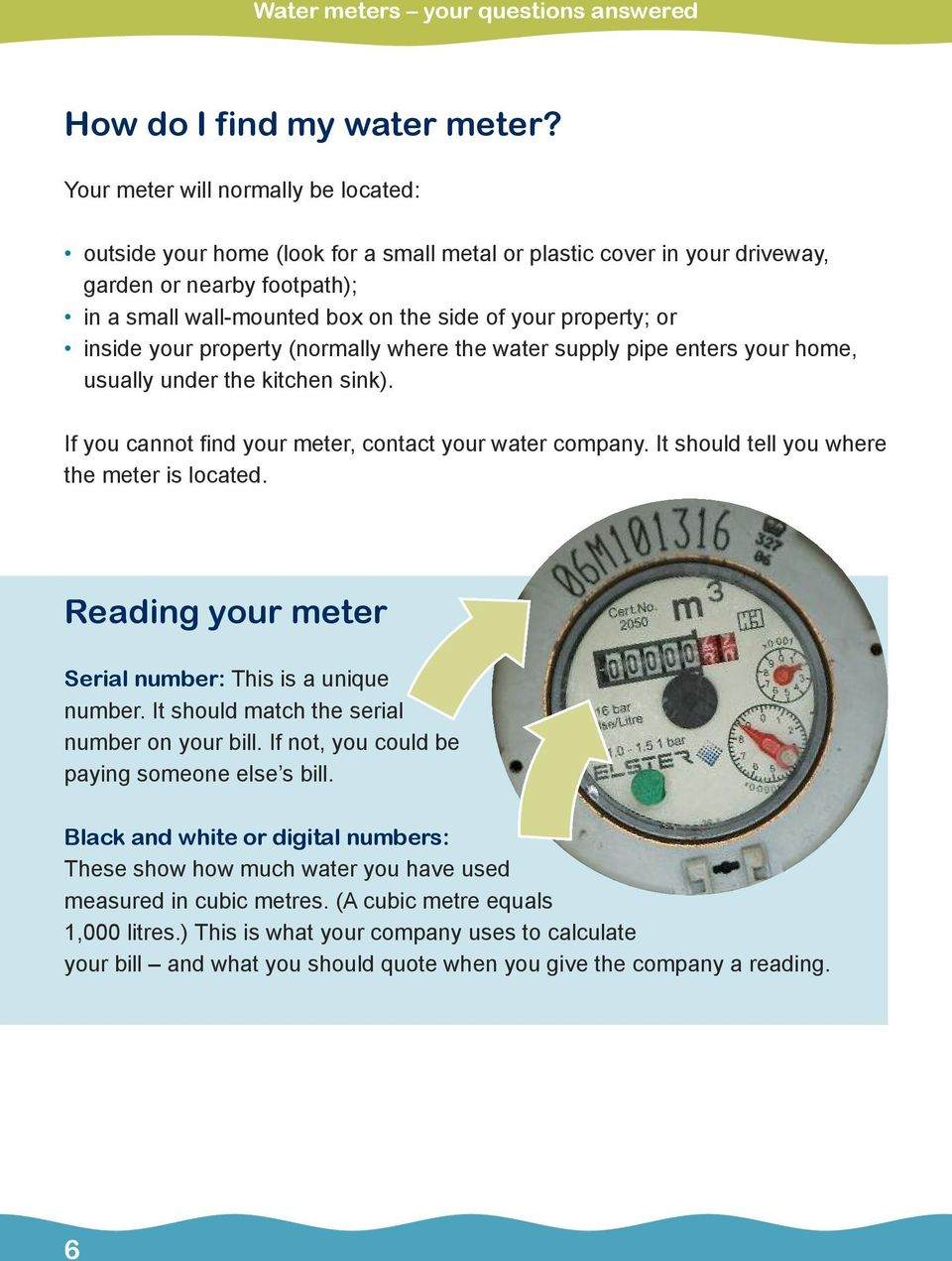 or inside your property (normally where the water supply pipe enters your home, usually under the kitchen sink). If you cannot find your meter, contact your water company.