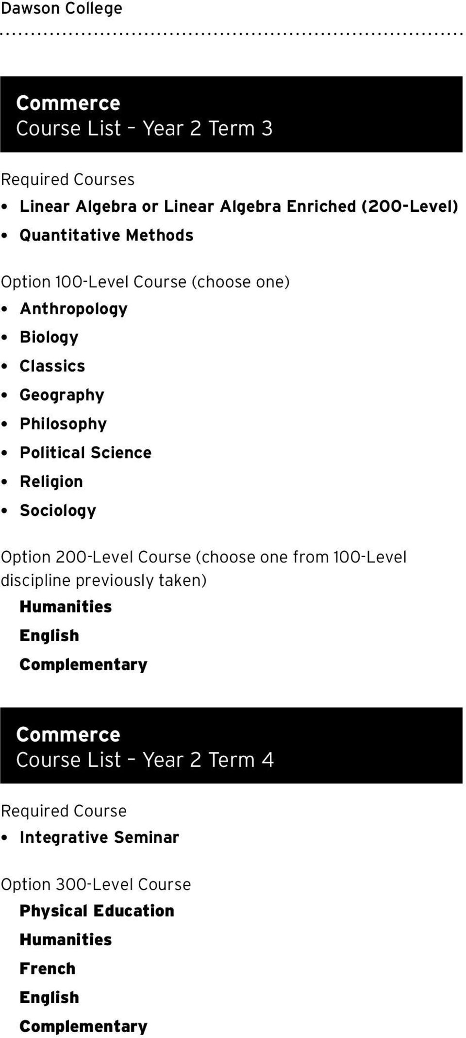 Philosophy Political Science Religion Sociology Option 200-Level Course (choose one from 100-Level