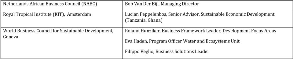 Advisor, Sustainable Economic Development (Tanzania, Ghana) Roland Hunziker, Business Framework Leader,