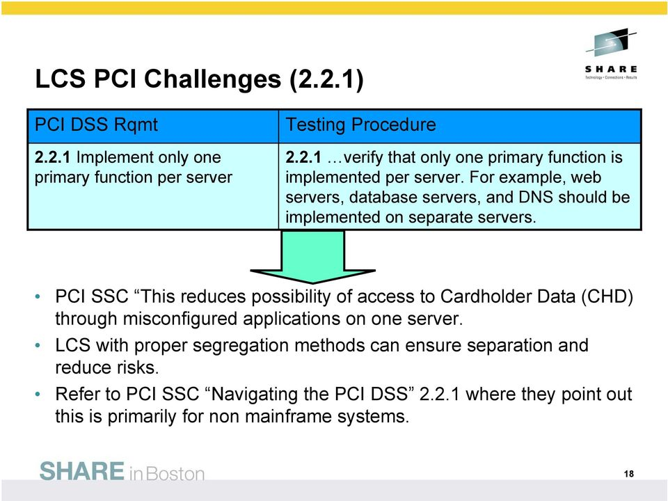 PCI SSC This reduces possibility of access to Cardholder Data (CHD) through misconfigured applications on one server.