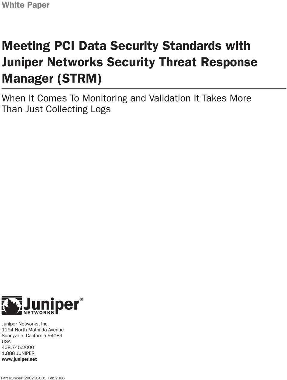 Just Collecting Logs Juniper Networks, Inc.