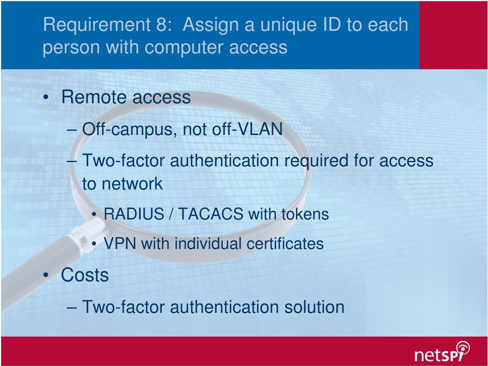 authentication required for access to network Costs RADIUS /