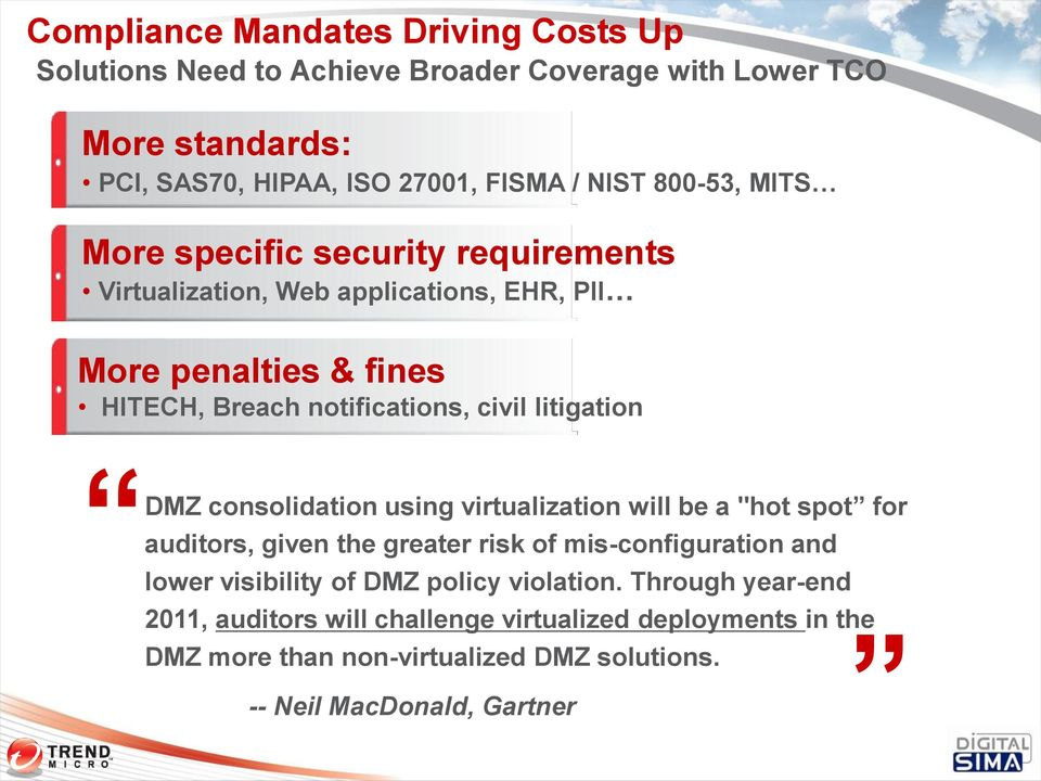 "litigation DMZ consolidation using virtualization will be a ""hot spot for auditors, given the greater risk of mis-configuration and lower visibility of DMZ"