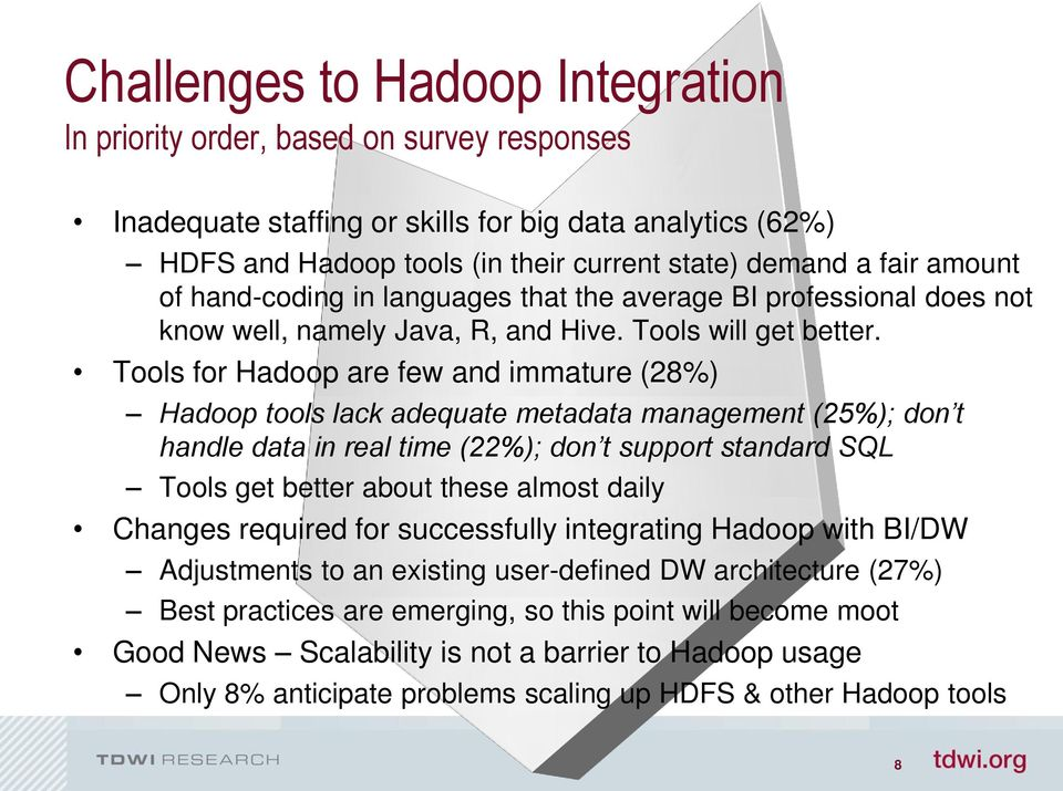 Tools for Hadoop are few and immature (28%) Hadoop tools lack adequate metadata management (25%); don t handle data in real time (22%); don t support standard SQL Tools get better about these almost