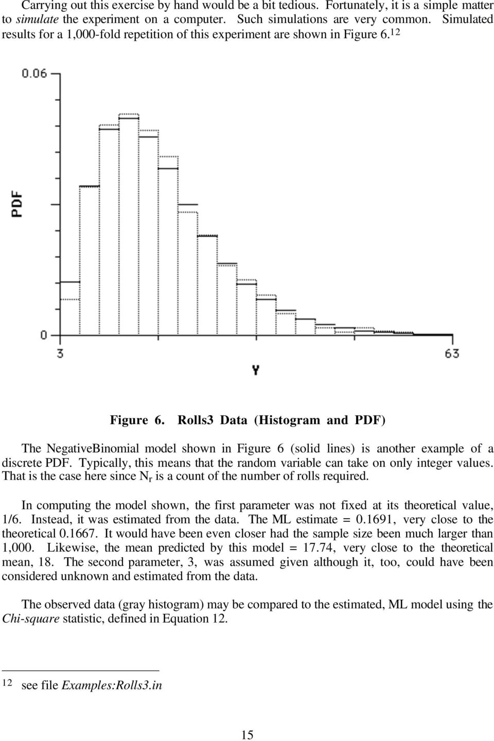 Rolls3 Data (Histogram and PDF) The NegativeBinomial model shown in Figure 6 (solid lines) is another example of a discrete PDF.