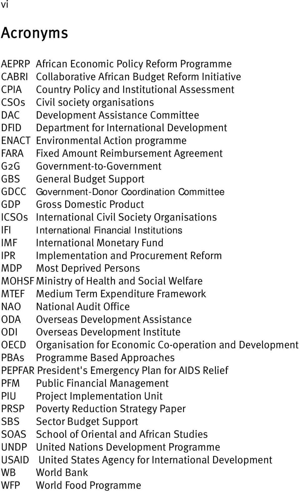 Budget Support GDCC Government-Donor Coordination Committee GDP Gross Domestic Product ICSOs International Civil Society Organisations IFI International Financial Institutions IMF International