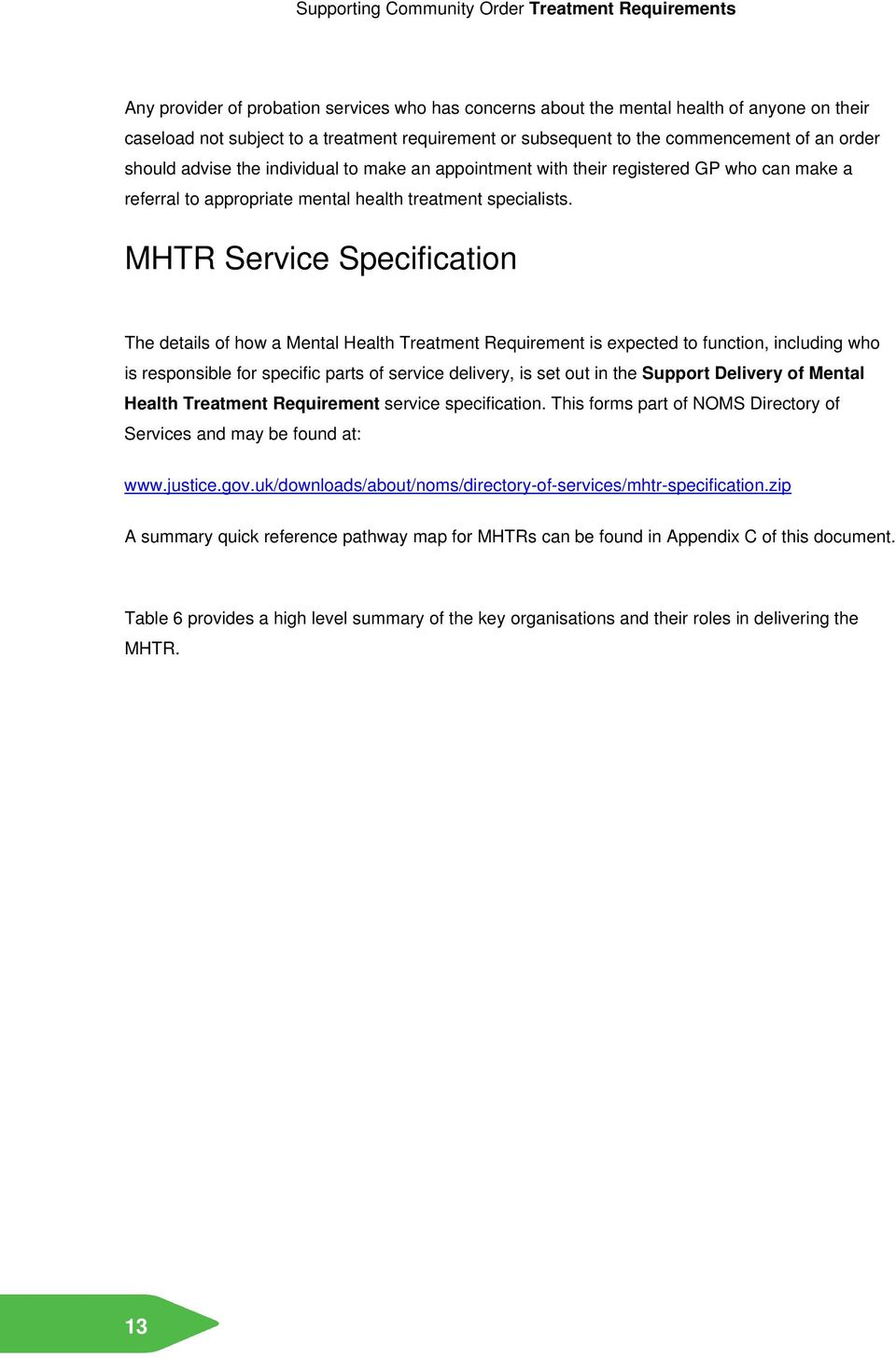 MHTR Service Specification The details of how a Mental Health Treatment Requirement is expected to function, including who is responsible for specific parts of service delivery, is set out in the