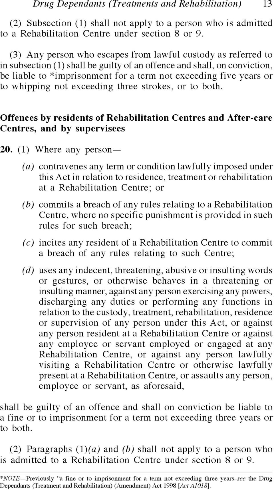 or to whipping not exceeding three strokes, or to both. Offences by residents of Rehabilitation Centres and After-care Centres, and by supervisees 20.