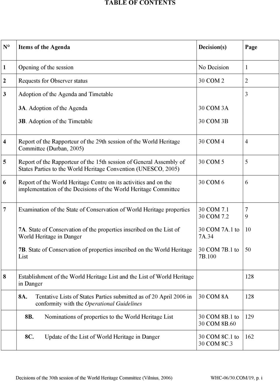 Adoption of the Timetable 30 COM 3B 4 Report of the Rapporteur of the 29th session of the World Heritage Committee (Durban, 2005) 5 Report of the Rapporteur of the 15th session of General Assembly of