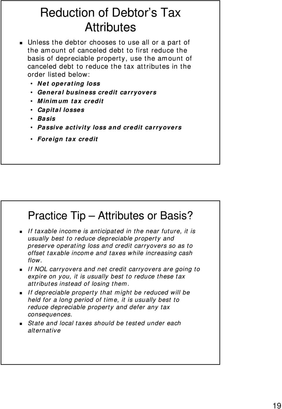 Foreign tax credit Practice Tip Attributes or Basis?