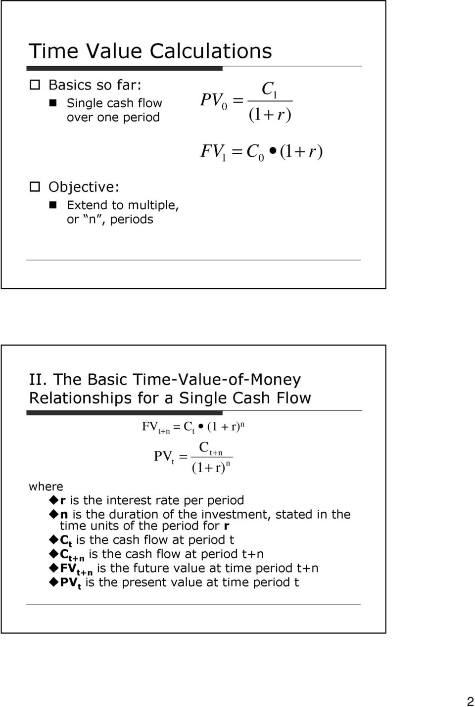 The Basic Time-Value-of-Moey Relatioships for a Sigle ash Flow where FV t+ t ( + r) PV (+ r) t+ t r is the iterest rate