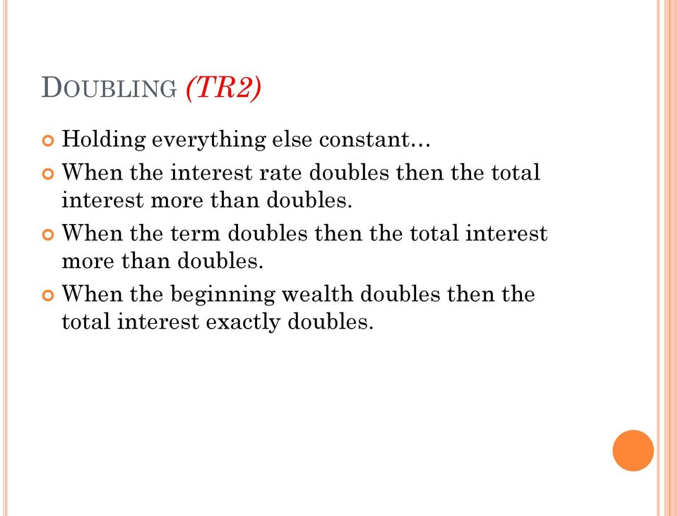 When the term doubles then the total interest more than doubles.