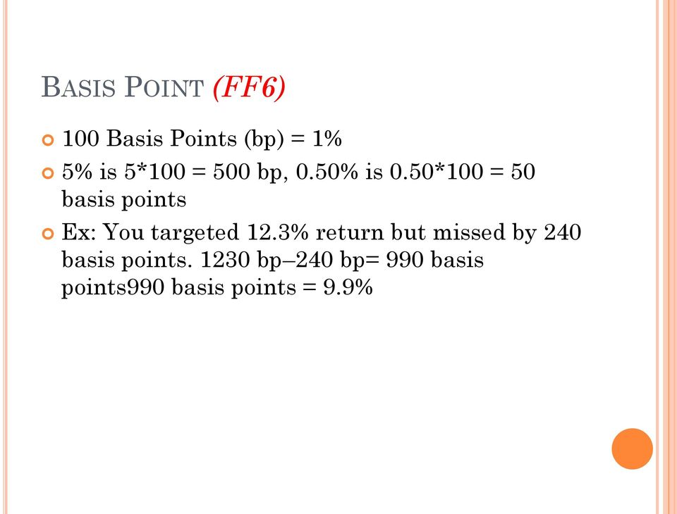 50*100 = 50 basis points Ex: You targeted 12.