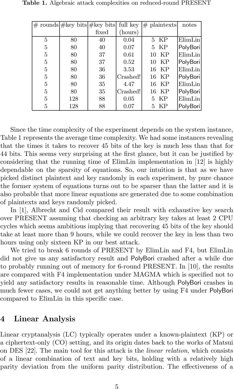 05 5 KP ElimLin 5 128 88 0.07 5 KP PolyBori Since the time complexity of the experiment depends on the system instance, Table 1 represents the average time complexity.
