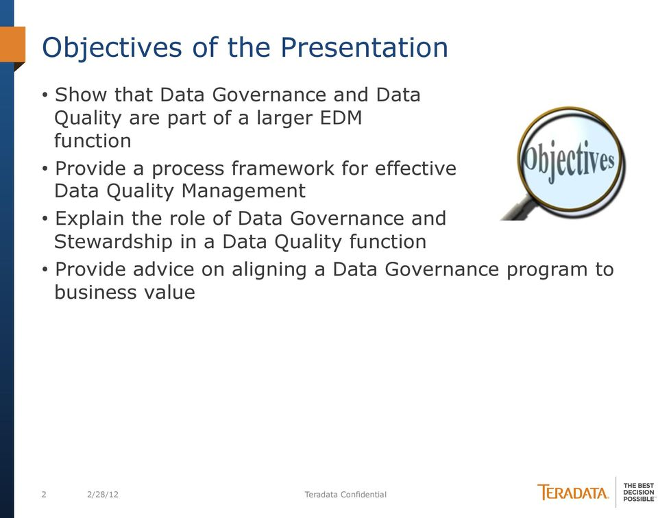 Explain the role of Governance and Stewardship in a Quality function Provide