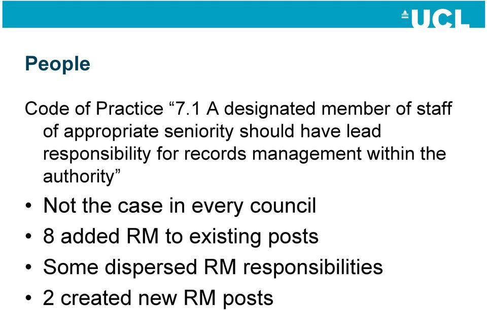 lead responsibility for records management within the authority Not