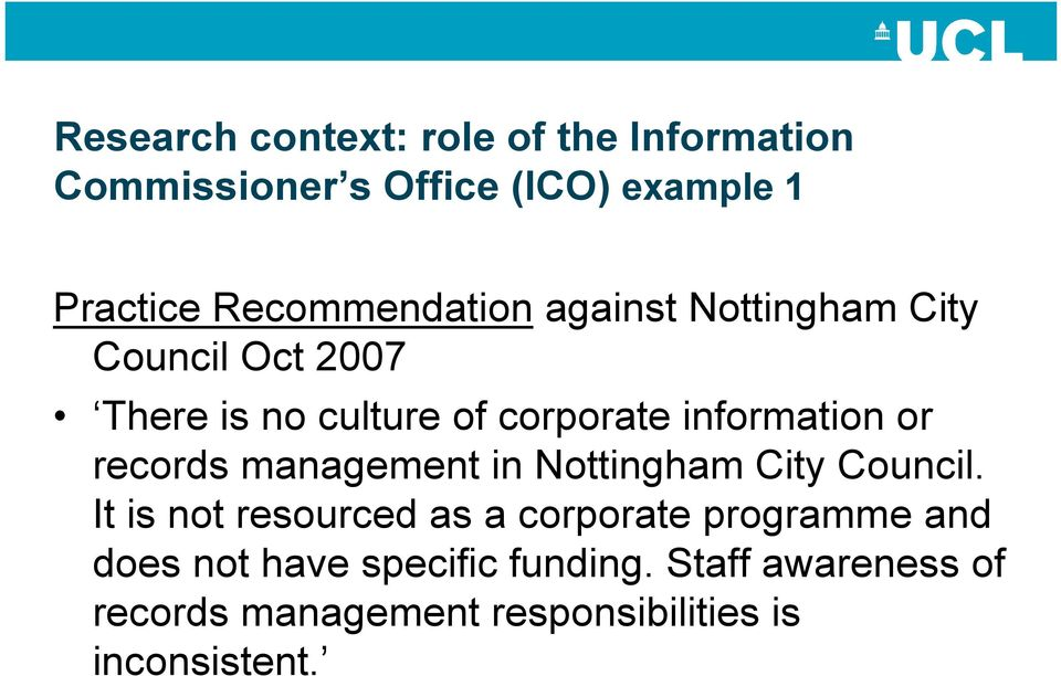 information or records management in Nottingham City Council.
