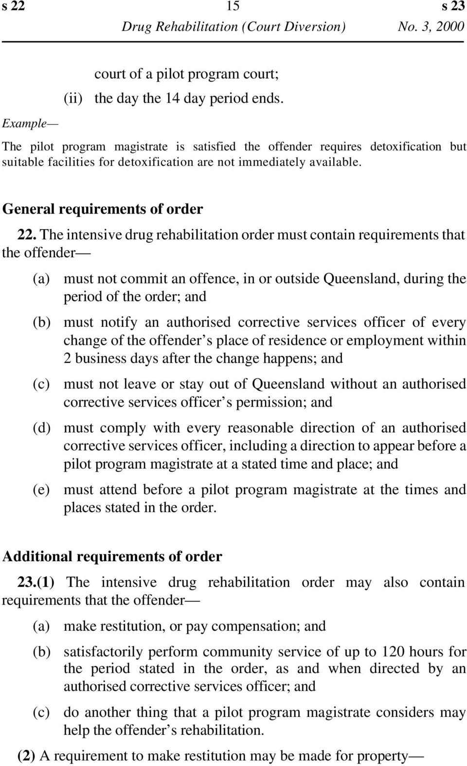 The intensive drug rehabilitation order must contain requirements that the offender (d) (e) must not commit an offence, in or outside Queensland, during the period of the order; and must notify an