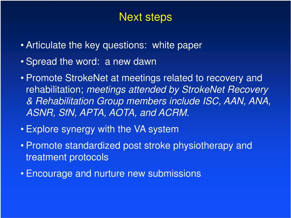 Group members include ISC, AAN, ANA, ASNR, SfN, APTA, AOTA, and ACRM.