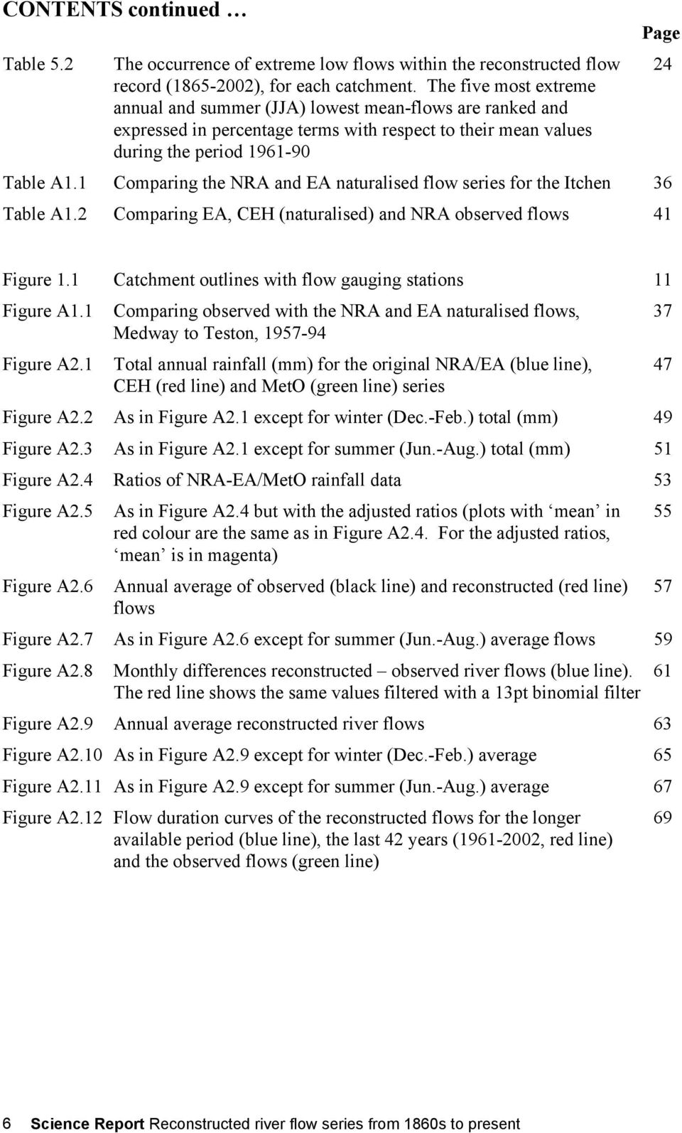1 Comparing the NRA and EA naturalised flow series for the Itchen 36 Table A1.2 Comparing EA, (naturalised) and NRA observed flows 41 Figure 1.