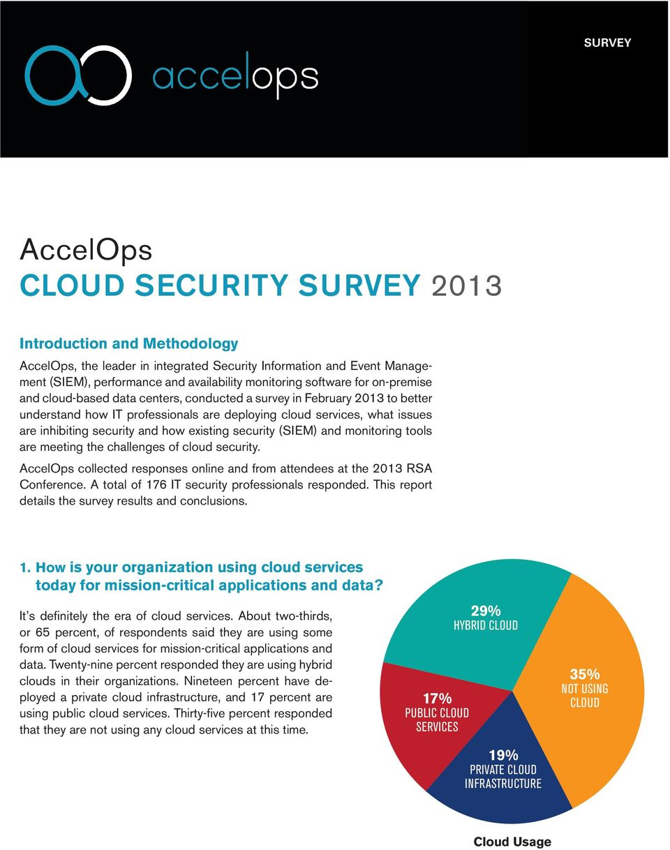 and how existing security (SIEM) and monitoring tools are meeting the challenges of cloud security. AccelOps collected responses online and from attendees at the 2013 RSA Conference.