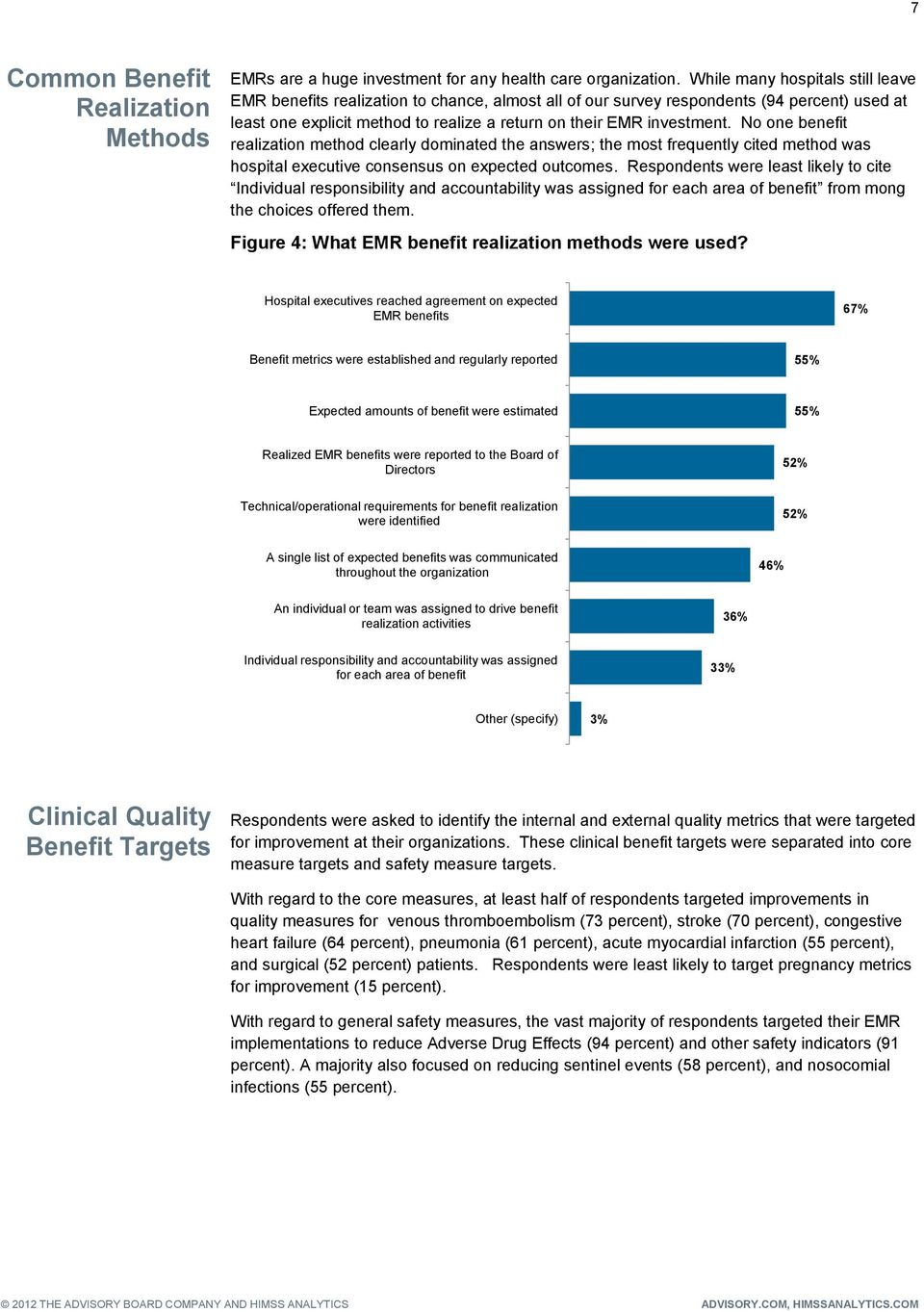 No one benefit realization method clearly dominated the answers; the most frequently cited method was hospital executive consensus on expected outcomes.