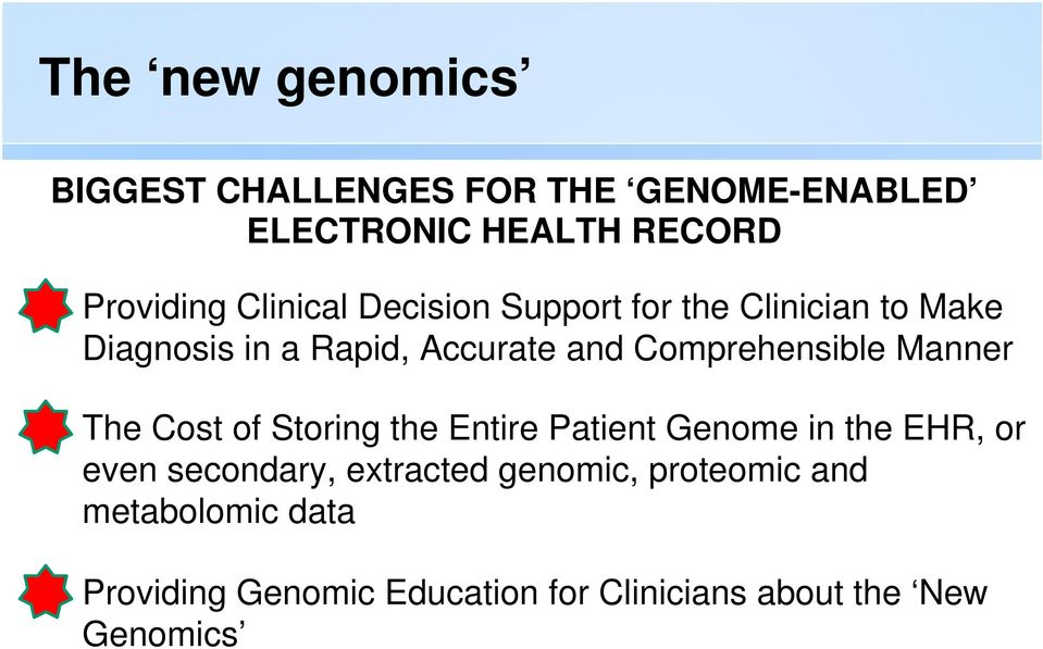 Comprehensible Manner The Cost of Storing the Entire Patient Genome in the EHR, or even secondary,