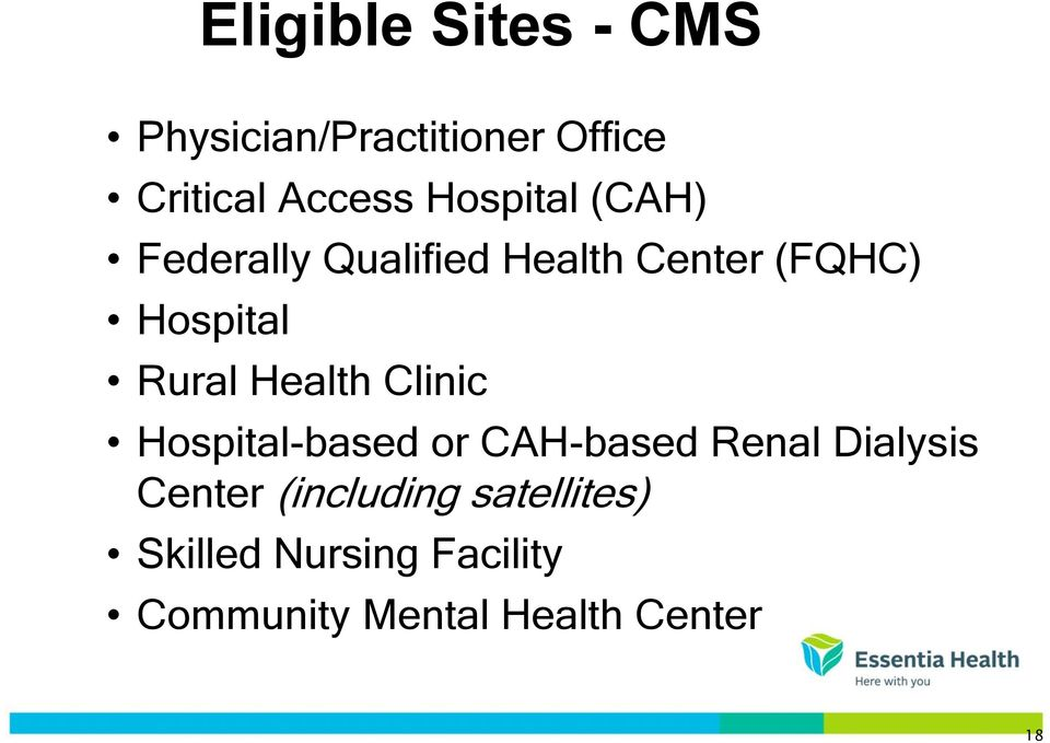 Health Clinic Hospital-based or CAH-based Renal Dialysis Center
