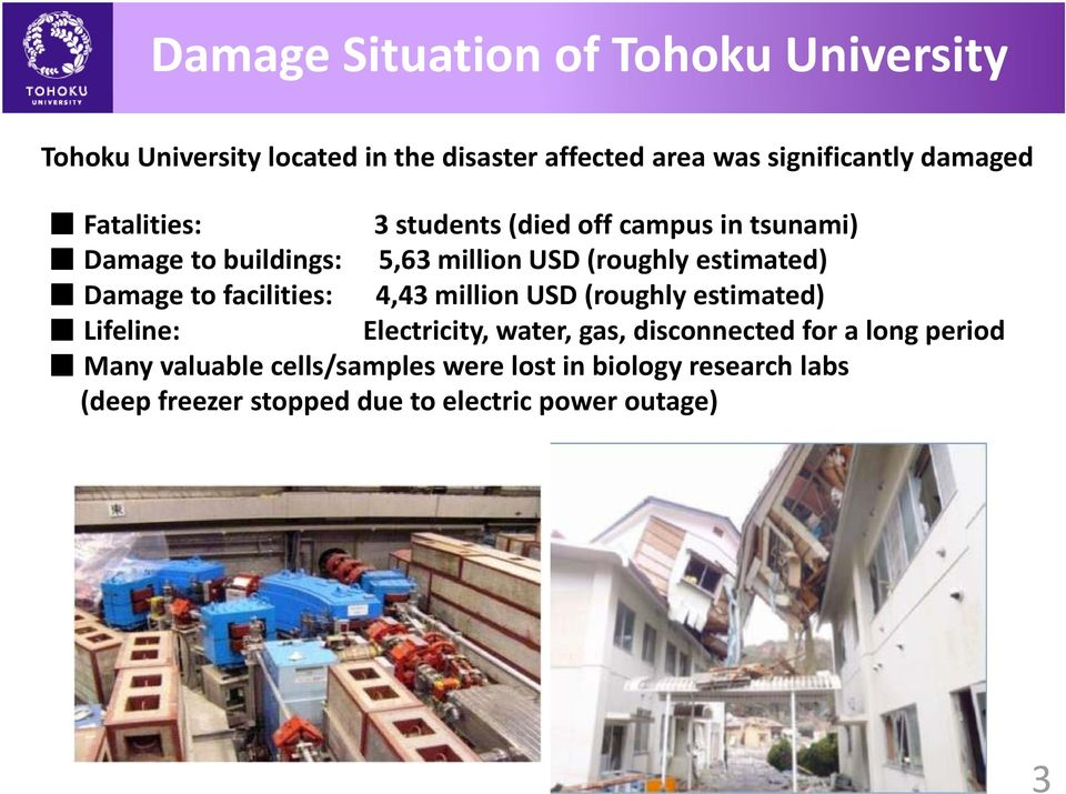 Damage to facilities: 4,43 million USD (roughly estimated) Lifeline: Electricity, water, gas, disconnected for a long