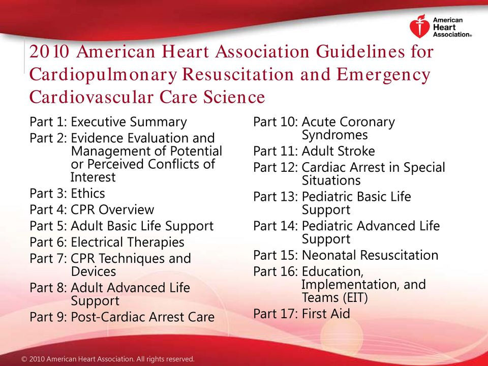 and Devices Part 8: Adult Advanced Life Support Part 9: Post-Cardiac Arrest Care Part 10: Acute Coronary Syndromes Part 11: Adult Stroke Part 12: Cardiac Arrest in Special