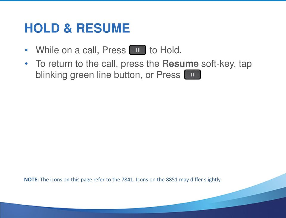 blinking green line button, or Press NOTE: The icons on