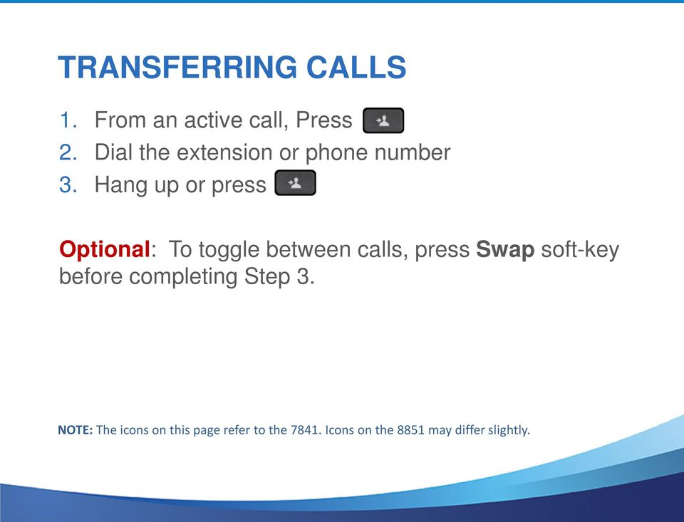 Hang up or press Optional: To toggle between calls, press Swap