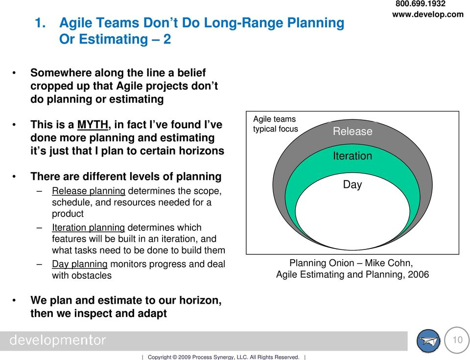 determines the scope, schedule, and resources needed for a product Iteration planning determines which features will be built in an iteration, and what tasks need to be done to build