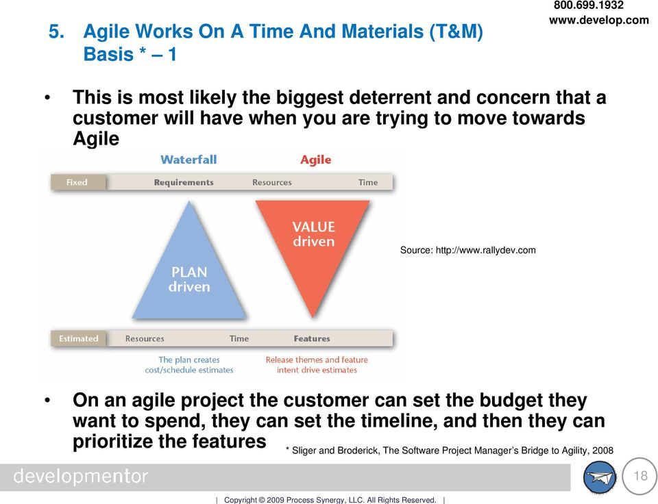 com On an agile project the customer can set the budget they want to spend, they can set the timeline, and
