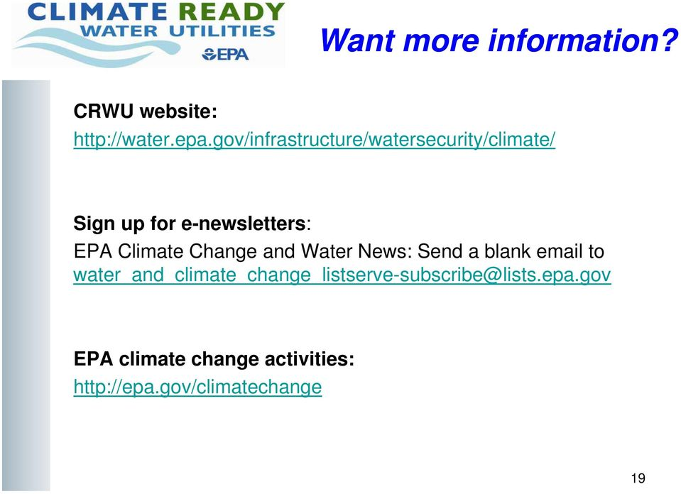Climate Change and Water News: Send a blank email to