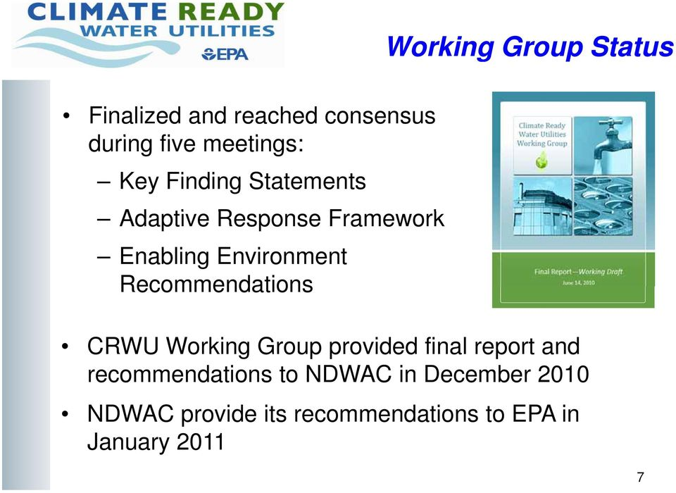 Recommendations CRWU Working Group provided final report and recommendations