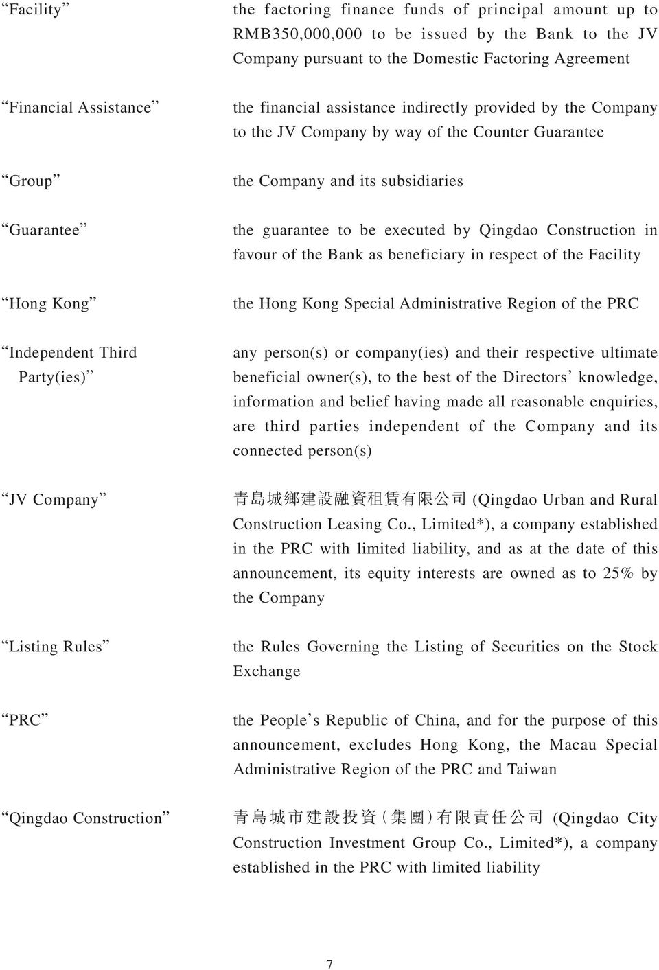 Construction in favour of the Bank as beneficiary in respect of the Facility Hong Kong the Hong Kong Special Administrative Region of the PRC Independent Third Party(ies) any person(s) or