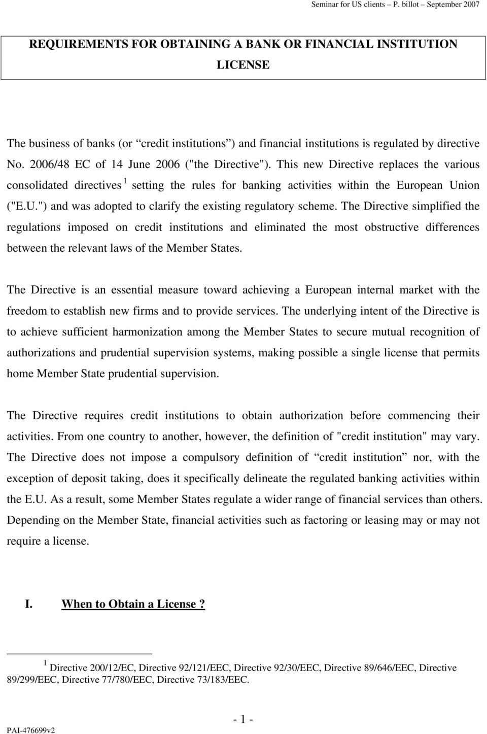 "ion (""E.U."") and was adopted to clarify the existing regulatory scheme."